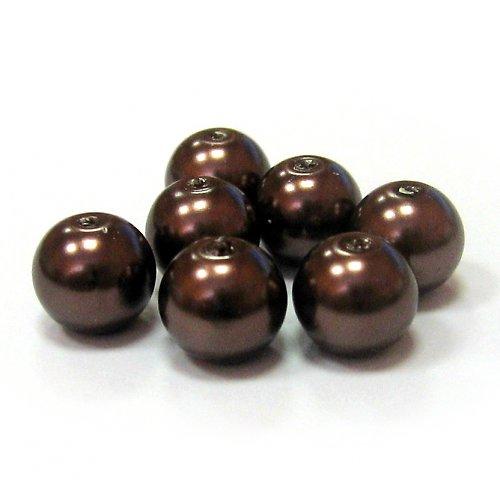 Perly voskové - 8 mm - hnědá - 10 ks