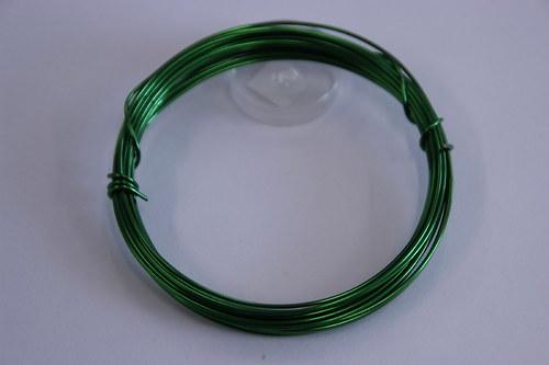 Měděný drátek 1mm - zelená, návin 3,8-4m