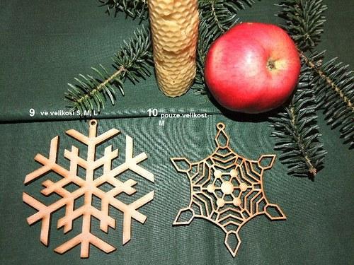 Vánoční dřevěné ozdoby VLOČKY 9 a 10/velikost L