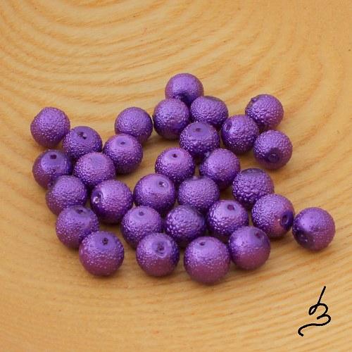 Voskové perle vroubkované TM fialové 8 mm - 20 ks