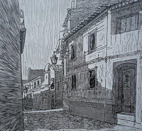 Évora, Portugalsko- originální linoryt