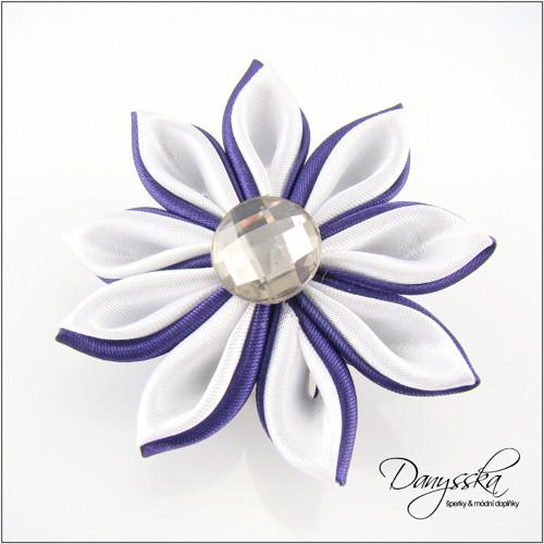 Saténová květina - brož/sponka do vlasů 189