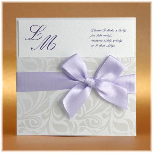 Luxusní svatební oznámení - fialová stuha