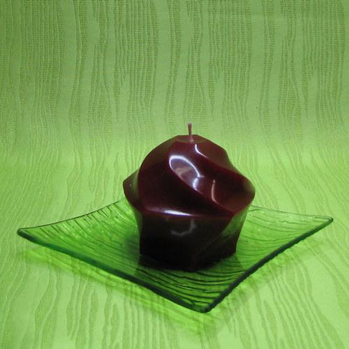 Svíčka dekorativní pětiúhelník červený - broskev