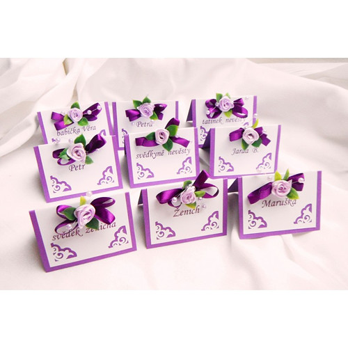 Svatební jmenovky  - fialové ornamenty