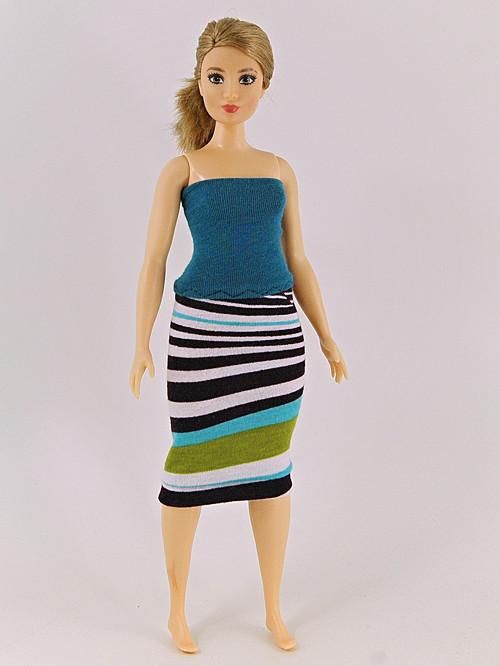 Barbie Baculka- Modré šaty s pruhy