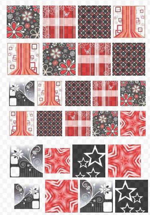 červenočerný mix čtverečků