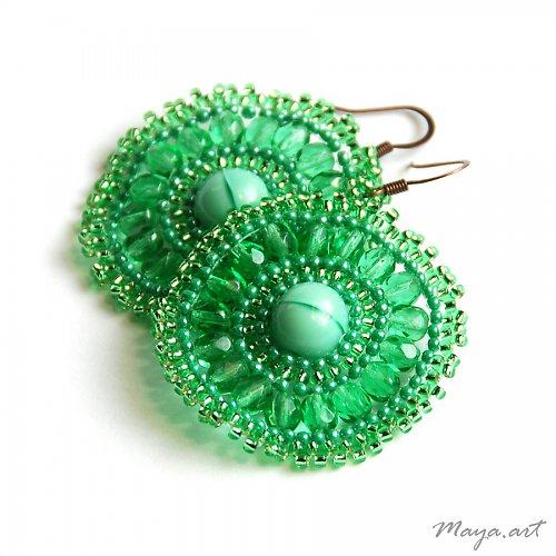 Zelené šité náušnice