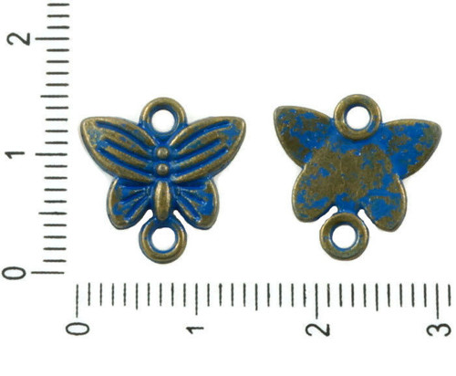 12ks Starožitné Bronzové Tón Modrá Patina Umýt Mot