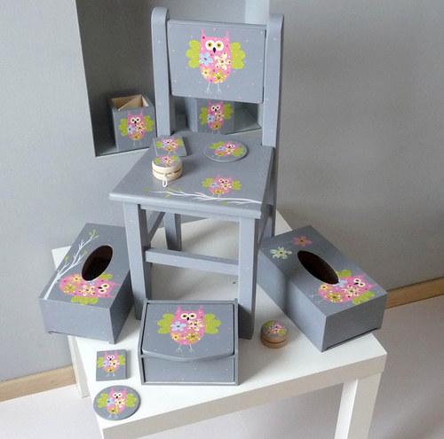 Dětská židlička  - šedá se sovou