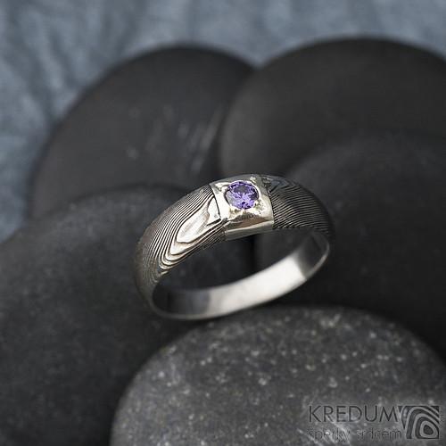 Zásnubní prsten nerez damasteel - Siona Space
