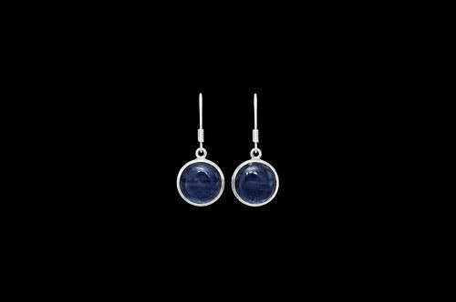 Stříbrné náušnice s modrým kyanitem