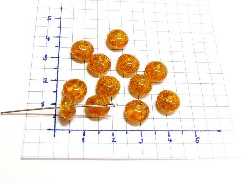 Práskané, oranžové korálky, 9 mm, 15 ks, placička
