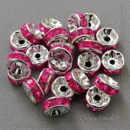 Šatonové rondelky, růžové, 8 mm - 5 ks