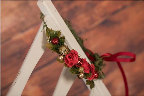 Vánoční věneček - červená a zlatá