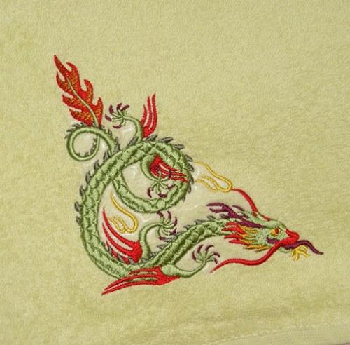 Ručník s výšivkou čínský drak