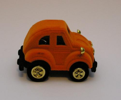 Sametová krabička na šperky - auto oranžové