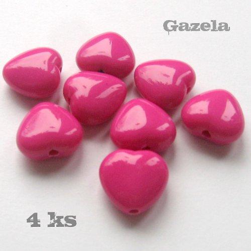 Srdíčka tmavě růžová - 4 ks