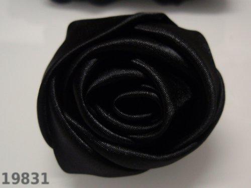 19831-B25 MAXI saténová růže 50mm! černá