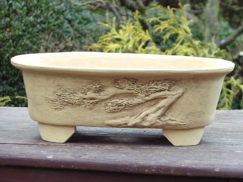Bonsai miska světlá oválná
