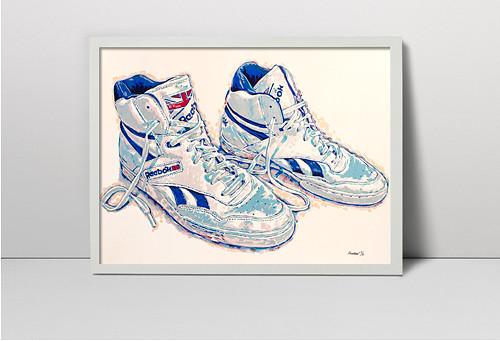Originální ruční sítotisk Sportovní boty Reebok