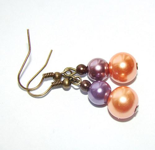 náušnice  perličky ve starozlatě