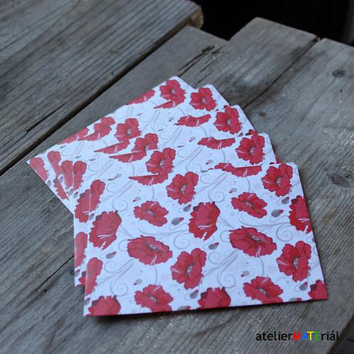 Papírové pytlíčky L 5 ks - červené květy