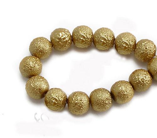 Zvrásněné perly průměr 6mm 20 ks barva zlatá