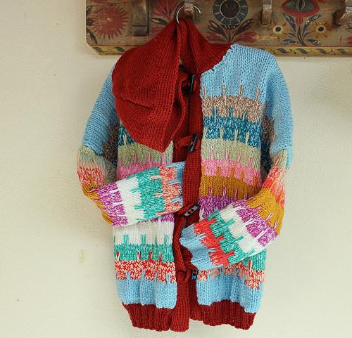 Barevný,  kabátek - bundička  s kapucí