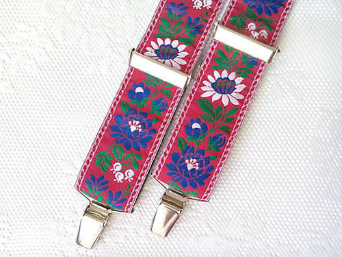 Folklore suspenders for kids (red)