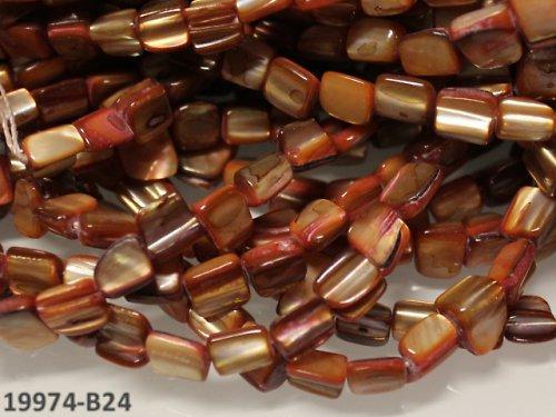 19974-B24 Přírodní PERLEŤ kostky HNĚDÉ, bal. 10ks
