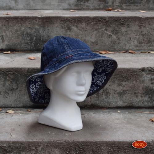 modrý džínový klobouk s vlnitou krempou 2, 53/54
