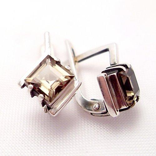Náušnice «Mini» - Ag 925/1000, přírodní záhněda