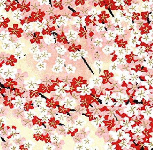 Handmade papír Červené a bílé třešňové kvítky
