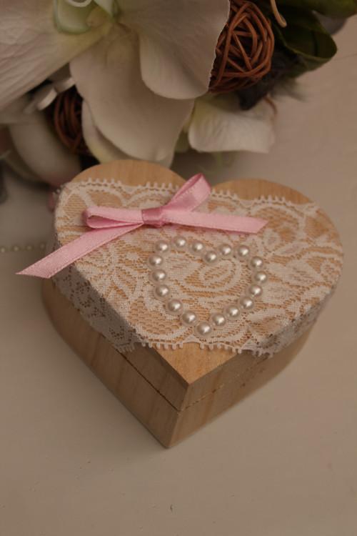 Srdíčko na prstýnky do růžova