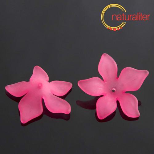 Květina akrylová - lilie 27mm fuchsiová, 4ks