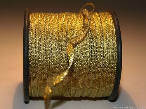 Stuha s lurexem š.5mm zlatá