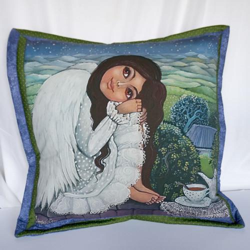 Andělka co má ráda kafíčko (50x50 cm) 100 % bavlna