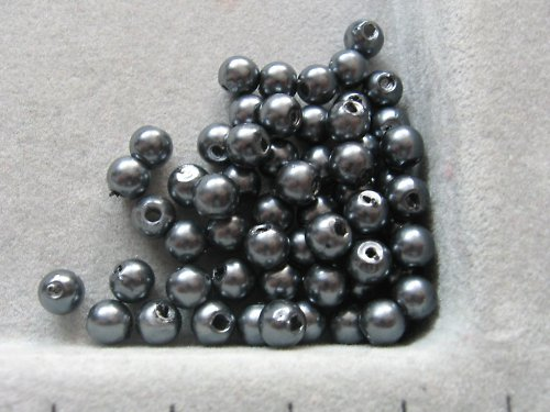 Voskové korálky - grafitová  5 mm / 30 ks