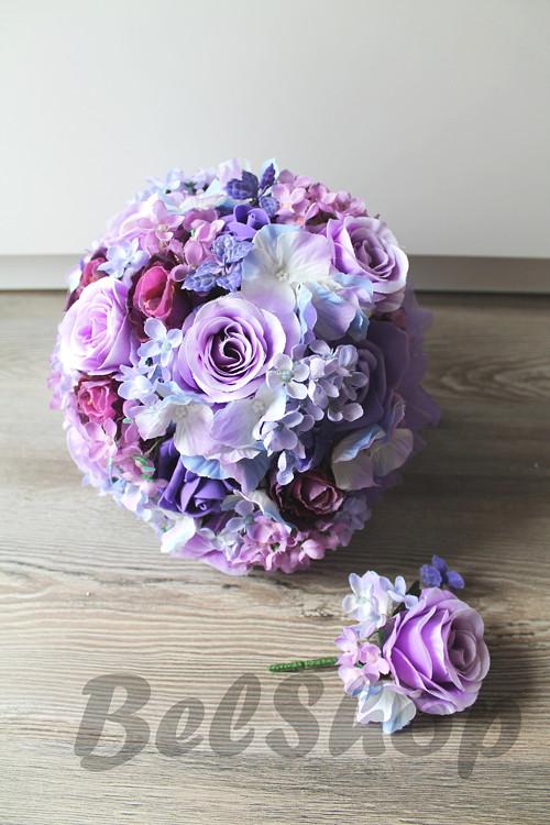 Svatební kytice ve fialovém mixu