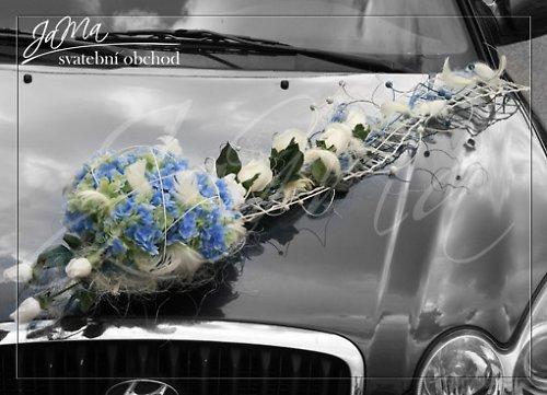 Dekorace auto \'\'Modré hortenzie- růže\'\'
