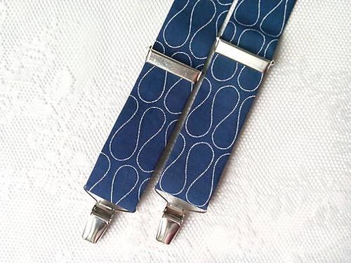 Suspenders (dark blue/white waves)