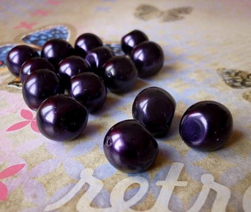 v25 / perly nugeta tmavě fialové / 12x15mm / 3ks