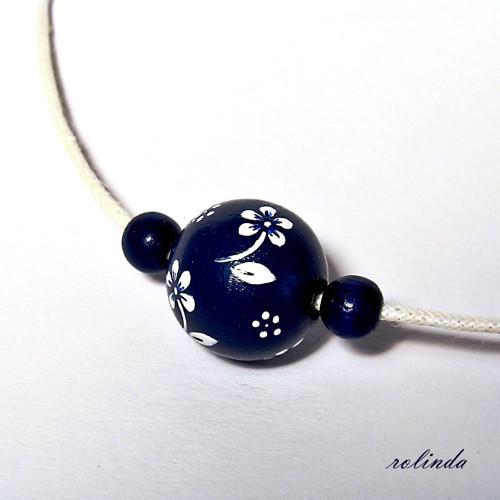 Jednoduchý modrotiskový náhrdelník