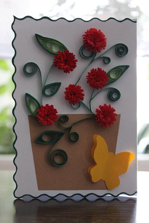 Přáníčko s červenými květy ...