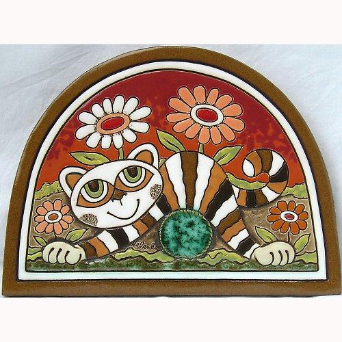 Keramický obrázek - Kočka s klubkem K-146-CE