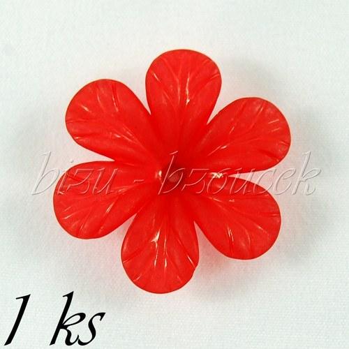 Červený akrylový květ - 1ks