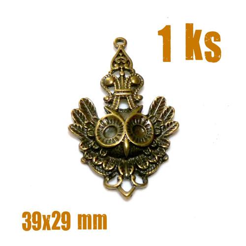 přívěsek SOVA INDIÁN, bronz, 39x29 mm, 1 ks