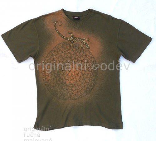Malované tričko pánské - ještěrka
