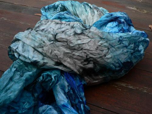 Šál tyrkysovomodrý, trochu do šeda .. 180x90 cm